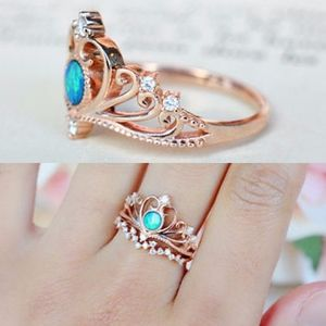Jewelry - 2-piece Crown Faux Fire Opal Rose Gold Queen Ring
